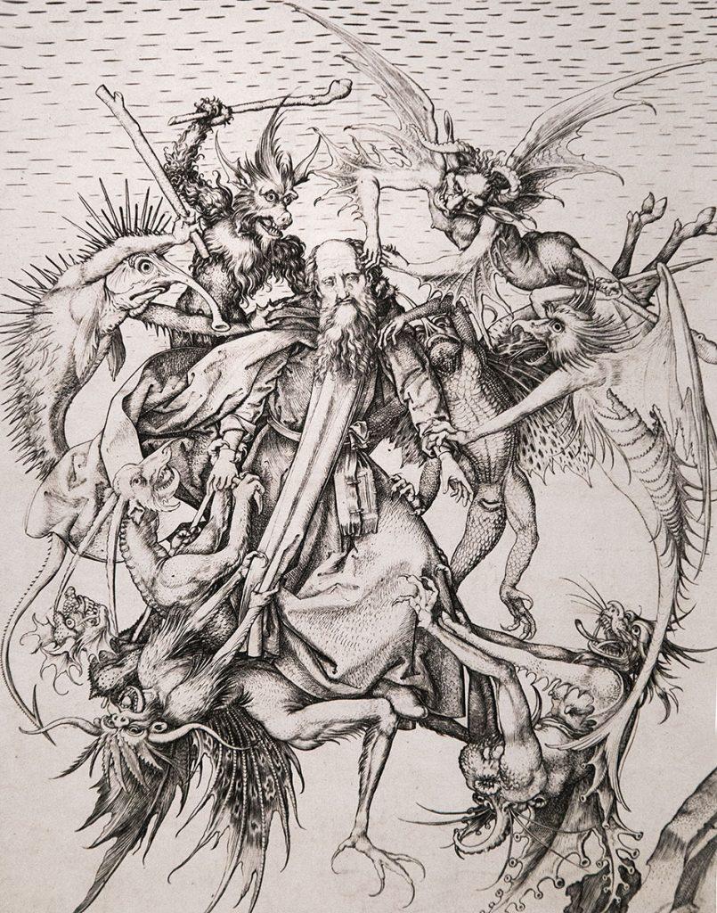 Fabian Fröhlich, Ausstellung Spätgotik, Gemäldegalerie Berlin, Martin Schongauer,Versuchung des Heiligen Antonius
