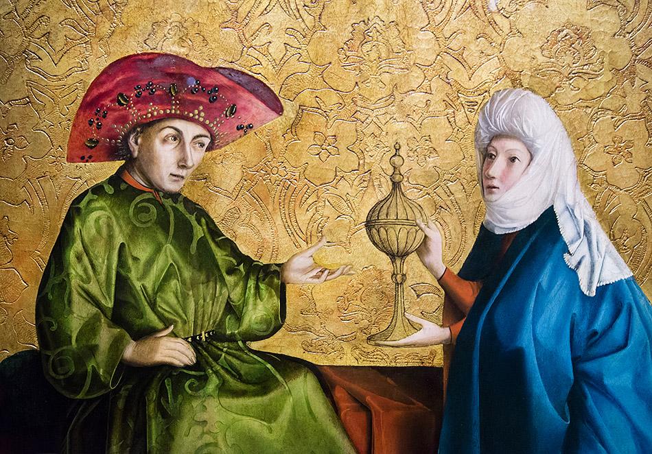 Spätgotik, Gemäldegalerie Berlin, Konrad Witz, Die Königin von Saba vor Salomo, Detail, um 1430/37, Öl auf EichenholzKonrad Witz, Die Königin von Saba vor Salomon