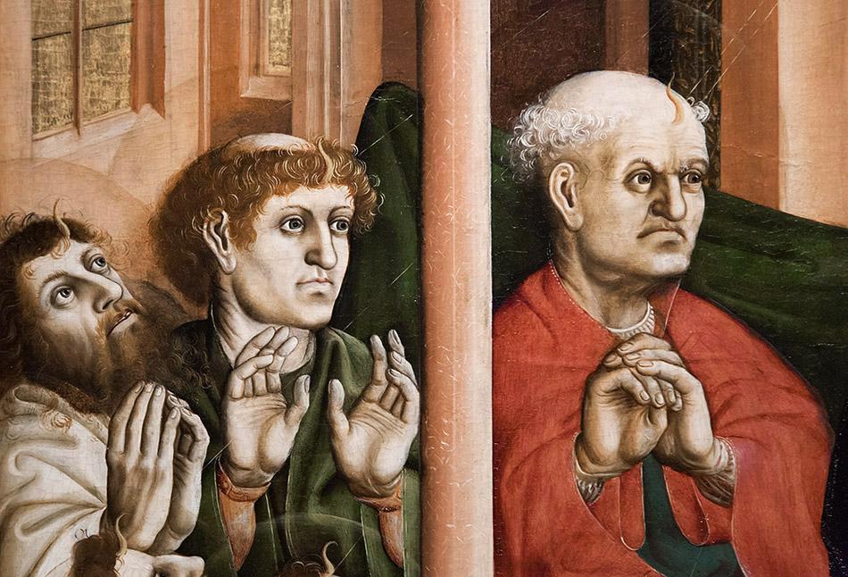 Fabian Fröhlich, Ausstellung Spätgotik, Gemäldegalerie Berlin, Hans Multscher, Wurzacher Altar, Pfingstwunder